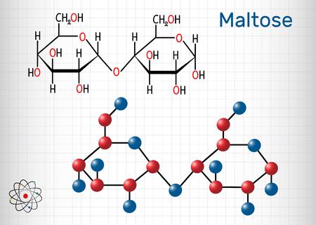 Le maltose, molécule de sucre de malt, est un disaccharide. Formule chimique structurale et modèle de molécule. Feuille de papier dans une cage. Illustration vectorielle