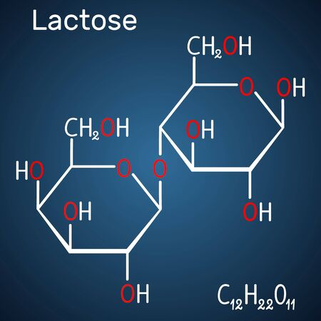 Lactose, milk sugar molecule, it is a disaccharide. Structural chemical formula and molecule model on the dark blue background. Vector illustration Ilustração