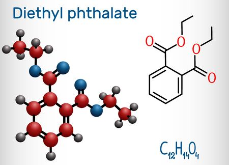 Ftalan dietylu, cząsteczka plastyfikatora DEP, jest estrem ftalanu. Strukturalny wzór chemiczny i model cząsteczki. Ilustracja wektorowa