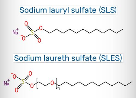 Sodium dodecyl sulfate (SDS), sodium lauryl sulfate (SLS), sodium laureth sulfate (SLES) molecule. It is an anionic surfactant used in cleaning and hygiene products. Structural chemical formula. Vector illustration