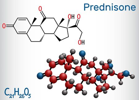 Prednisone molecule. A synthetic anti-inflammatory glucocorticoid derived from cortisone. Structural chemical formula and molecule model. Vector illustration