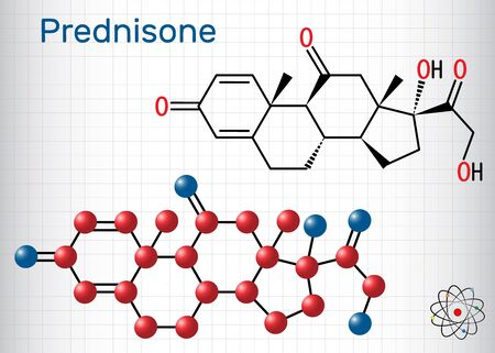 Prednisone molecule. A synthetic anti-inflammatory glucocorticoid derived from cortisone. Structural chemical formula and molecule model. Sheet of paper in a cage. Vector illustration Ilustração