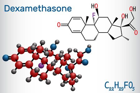 Dexamethasone molecule. This anti-inflammatory medication is a corticosteroid hormone (glucocorticoid). Is used to treat arthritis, immune and hormone system disorders, allergic reactions. Structural chemical formula and molecule model