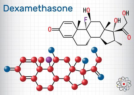Dexamethasone molecule. This anti-inflammatory medication is a corticosteroid hormone (glucocorticoid). Sheet of paper in a cage. Structural chemical formula and molecule model. Ilustração