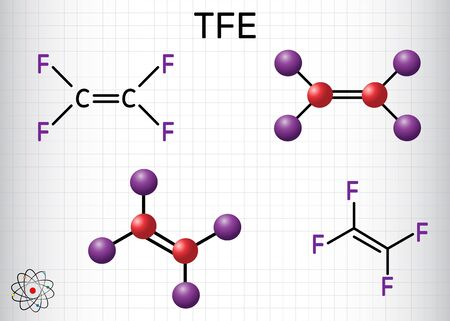 Tetrafluoroethylene or TFE molecule , is a monomer of Polytetrafluoroethylene or PTFE. It belongs to the family of fluorocarbons. Structural chemical formula and molecule model. Sheet of paper in  cage Ilustrace