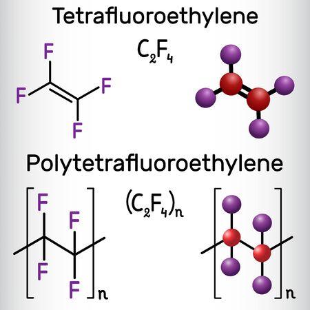 Politetrafluoroetileno o PTFE, polímero de teflón y molécula de tetrafluoroetileno o TFE. Fórmula química estructural y modelo de molécula. Ilustración vectorial