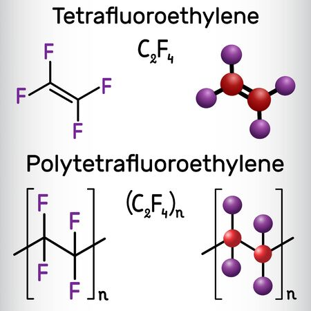 Polytetrafluoroethylene or PTFE, teflon polymer and Tetrafluoroethylene or TFE molecule. Structural chemical formula and molecule model. Vector illustration