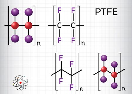 Polytetrafluoroethylene or PTFE, teflon polymer molecule. Is a synthetic fluoropolymer of tetrafluoroethylene. Structural chemical formula and molecule model. Sheet of paper in a cage. Vector Illustration