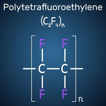 Polytetrafluoroethylene or PTFE, teflon polymer molecule. Is a synthetic fluoropolymer of tetrafluoroethylene. Structural chemical formula on the dark blue background. Vector illustration Ilustrace