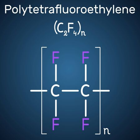 Polytetrafluoroethylene or PTFE, teflon polymer molecule. Is a synthetic fluoropolymer of tetrafluoroethylene. Structural chemical formula on the dark blue background. Vector illustration Illustration