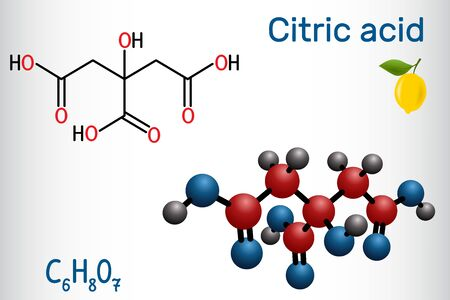 Citric acid molecule, is found in citrus fruits, lemons and limes. Is used as additive in food, cleaning agents, nutritional supplements. Structural chemical formula and molecule model. Ilustração