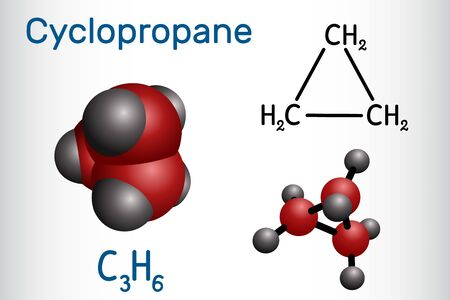 Cyclopropane cycloalkane molecule. It is an inhalation anaesthetic. Structural chemical formula and molecule model. Vector illustration Ilustração