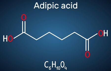 Adipic acid or hexanedioic, dicarboxylic acid molecule. It is food additive E355, also is used as precursor for the production of nylon. Structural chemical formula on the dark blue background