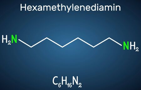Hexamethylenediamine diamine molecule. It is monomer for nylon. Structural chemical formula on the dark blue background. Vector illustration