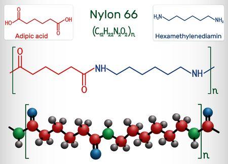 Nylon 66 or nylon molecule. It is plastic polymer. Structural chemical formula and molecule model. Vector illustration Illustration