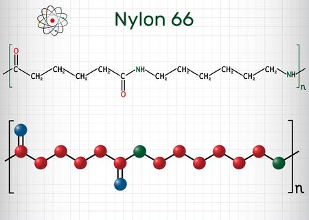 Nylon 66 or nylon molecule. It is plastic polymer. Structural chemical formula and molecule model. Sheet of paper in a cage. Vector illustration Ilustração