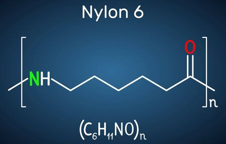 Nylon 6 or polycaprolactam polymer molecule. Structural chemical formula on the dark blue background. Vector illustration