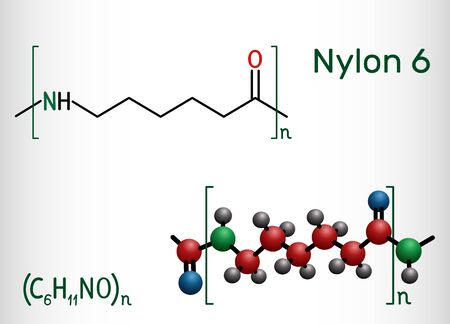 Nylon 6 or polycaprolactam polymer molecule. Structural chemical formula and molecule model. Vector illustration