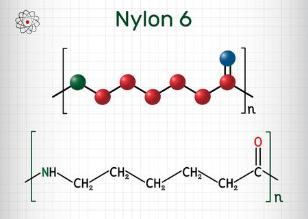 Nylon 6 or polycaprolactam polymer molecule. Structural chemical formula and molecule model. Sheet of paper in a cage. Vector illustration