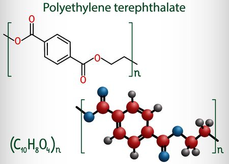Polyethylene terephthalate or PET, PETE polyester, thermoplastic polymer molecule. Structural chemical formula and molecule model. Vector illustration Ilustração