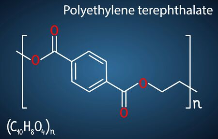 Polyethylene terephthalate or PET, PETE polyester, thermoplastic polymer molecule. Structural chemical formula on the dark blue background. Vector illustration