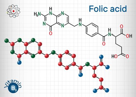 Folic acid, folate molecule. It is known as vitamin B9. Sheet of paper in a cage. Structural chemical formula and molecule model. Vector illustration