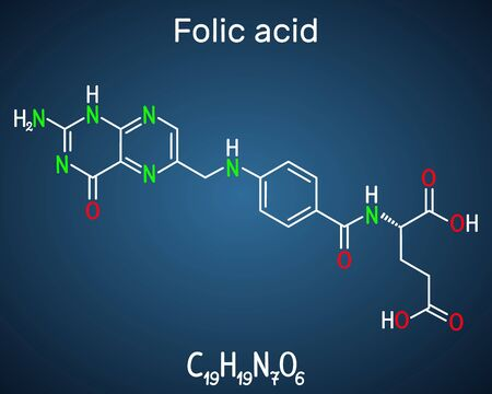 Folic acid, folate molecule. It is known as vitamin B9. Structural chemical formula on the dark blue background. Vector illustration Ilustração