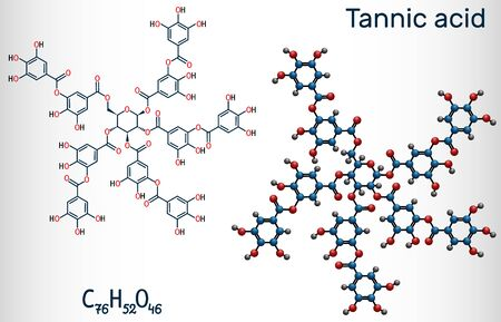 Tannic acid, tannin molecule. It type of polyphenol. Structural chemical formula and molecule model. Vector illustration