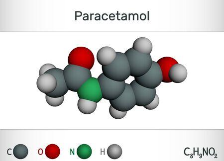Paracetamol (acetaminophen) drug molecule. Chemical formula and molecule model. 3D rendering