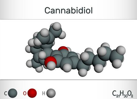 Cannabidiol (CBD) molecule.  Ð¡hemical formula and molecule model. Active cannabinoid in cannabis, has antipsychotic effects. 3D rendering