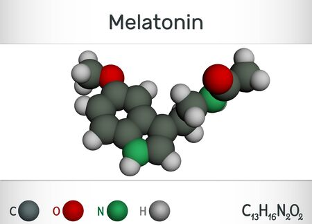 Melatonin molecule, hormone that regulates sleep and wakefulness. Chemical formula and molecule model. 3D rendering Banco de Imagens