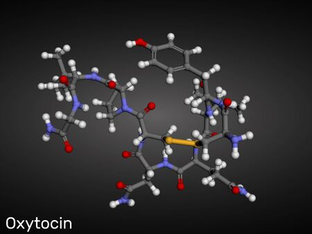 Oxytocin, Oxt, peptide hormone and neuropeptide molecule. Structural chemical formula. 3D rendering Standard-Bild - 128375540