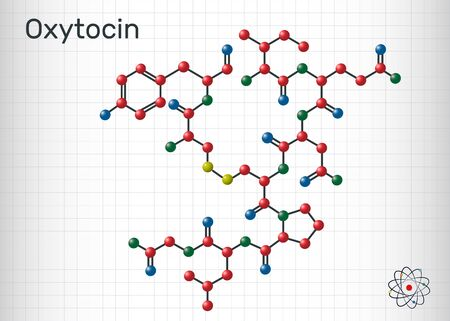 Oxytocin, Oxt, peptide hormone and neuropeptide molecule. Structural chemical formula. Sheet of paper in a cage.  Vector illustration Ilustração