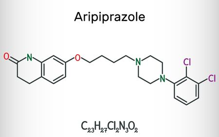 Aripiprazole, neurotransmitter, atypical antipsychotic drug  molecule. Structural chemical formula. Vector illustration