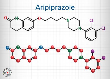 Aripiprazole, neurotransmitter, atypical antipsychotic drug  molecule. Structural chemical formula and molecule model. Sheet of paper in a cage. Vector illustration Ilustrace