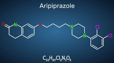 Aripiprazole, neurotransmitter, atypical antipsychotic drug  molecule. Structural chemical formula on the dark blue background. Vector illustration Ilustrace