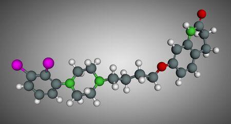 Aripiprazole, neurotransmitter, atypical antipsychotic drug molecule. Scale model. 3D rendering