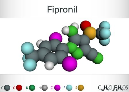 Fipronil, broad-spectrum insecticide molecule. It is used to fight ants, beetles, cockroaches, fleas, ticks, termites and other insects. Molecular model, illustration. 3D rendering