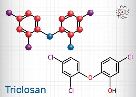 Triclosan molecule. It is a polychloro phenoxy phenol with antibacterial, antimicrobial, antifungal activity.  Sheet of paper in a cage. Structural chemical formula and molecule model. Vector illustration