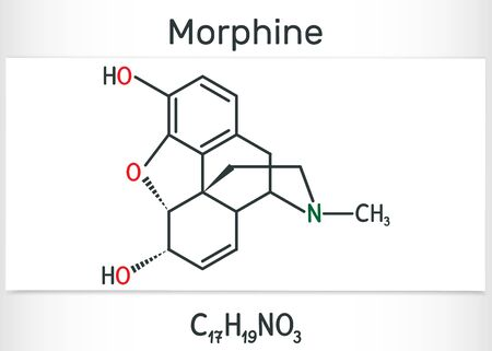 Morphine molecule. It is a pain medication of the opiate. Structural chemical formula and molecule model. Vector illustration Ilustração