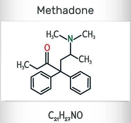 Methadone ( Dolophine)  molecule. It is an opioid, is used as an analgesic, in the treatment of drug addiction. Structural chemical formula and molecule model. Vector illustration