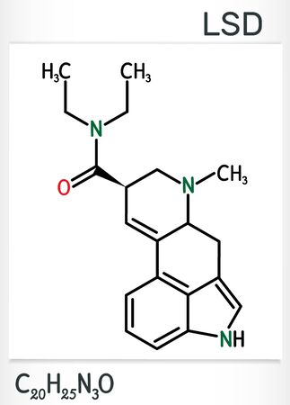 Lysergic acid diethylamide, LSD molecule. It is a hallucinogenic drug. Structural chemical formula. Vector illustration
