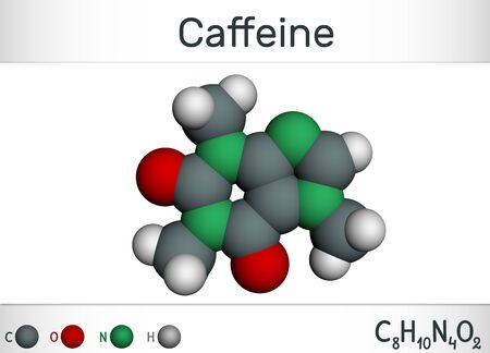 Caffeine alkaloid molecule. Structural chemical formula and molecule model. Molecule model. Illustration, 3D rendering