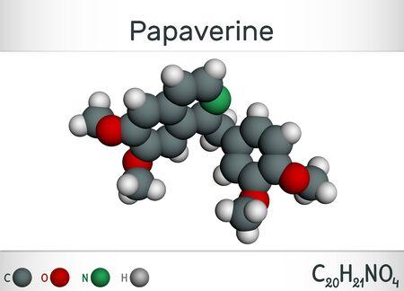 Papaverine molecule. It is opium alkaloid antispasmodic drug. Molecule model. Illustration, 3D rendering