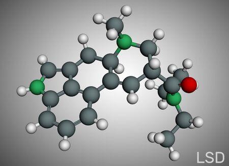 Lysergic acid diethylamide, LSD molecule. It is a hallucinogenic drug. Molecule model. Illustration, 3D rendering