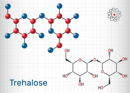 Trehalose, tremalose carbohydrate molecule. Also known as mycose. Is a disaccharide consisting of two molecules of glucose.  Sheet of paper in a cage. Structural chemical formula and molecule model. Vector illustration