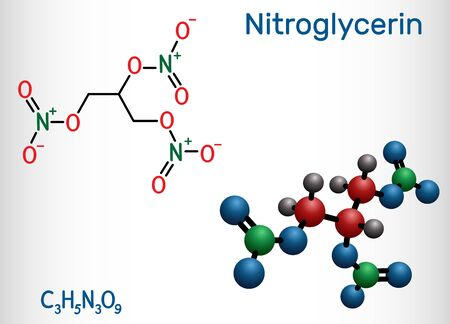 Nitroglycerin, glyceryl trinitrate, nitro molecule, is drug and explosive. Structural chemical formula and molecule model. Vector illustration
