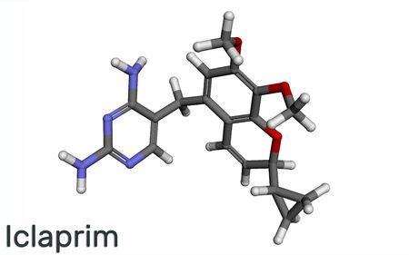Iclaprim molecule. It is an antibiotic drug, is active against Gram positive organisms. Molecule model. 3D rendering