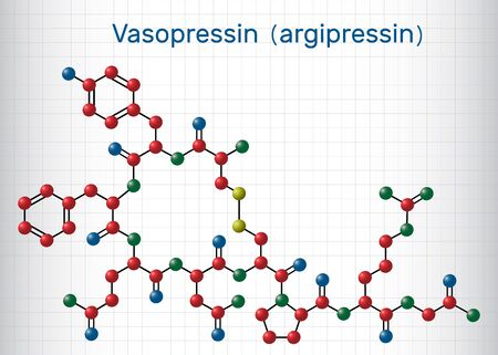 Vasopressin, arginine vasopressin AVP or argipressin molecule. It is antidiuretic hormone ADH synthesized as a peptide prohormone in neurons in the hypothalamus. Sheet of paper in a cage. Structural chemical formula. Vector illustration