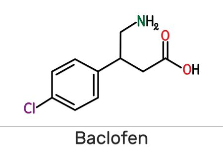 Baclofen molecule C10H12ClNO2, is a medication used to treat muscle spasticity. Structural chemical formula. Illustration
